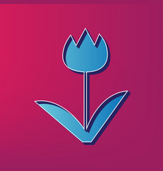 tulip sign blue 3d printed icon on vector image vector image