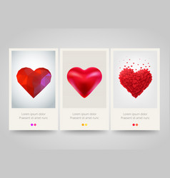 Valentines day heart vertical banners love vector