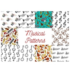 Musical instruments and notes seamless pattern set vector image