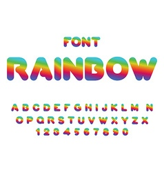 Rainbow font rounded abc multicolored letters vector