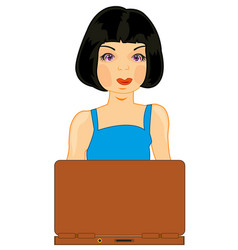 girl brunette for computer vector image