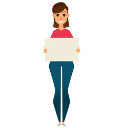 Modern business woman holding blank sign vector