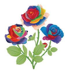Abstract rainbow roses vector