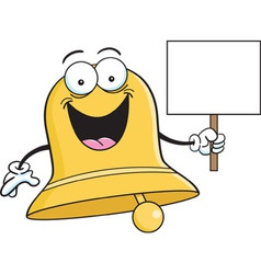 Cartoon bell holding a sign vector