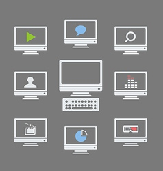 Modern monitors with different icons vector