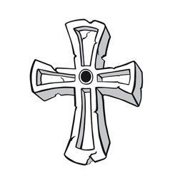 Ancient stone cross symbol vector