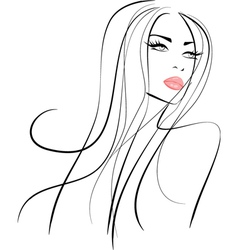Beautiful girl with long hair and pink lips vector