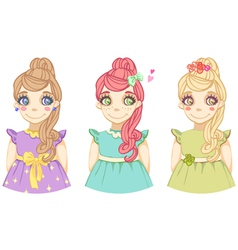 Three cute cartoon colored girls vector