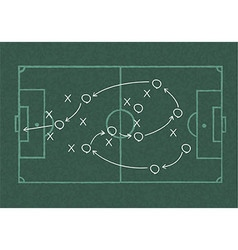 Realistic blackboard drawing a soccer game vector