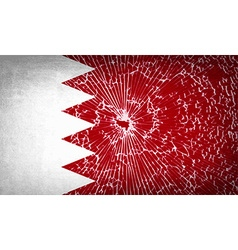 Flags bahrain with broken glass texture vector