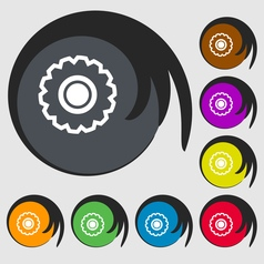 Cogwheel icon sign symbol on eight colored buttons vector