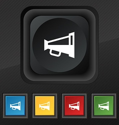 Megaphone soon loudspeaker icon symbol set of five vector