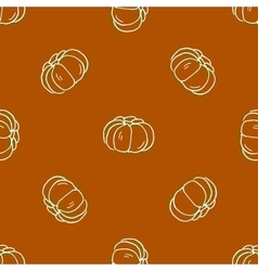 Seamless pattern of autumn pumpkins harvest of vector