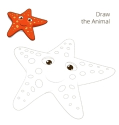 Draw the fish animal starfish educational game vector