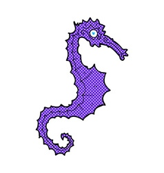 Comic cartoon sea horse vector