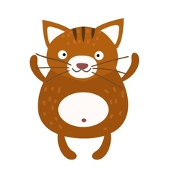Cute furry cat sitting alone home animal vector