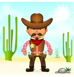 Hot cowboy in the desert vector