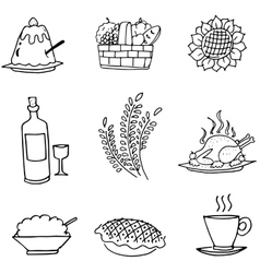 Doodle set food party thanksgiving vector