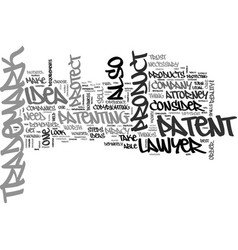 Attorney trademark patent text word cloud concept vector