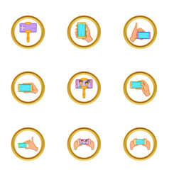 Cooperative selfie icons set cartoon style vector