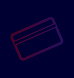 Credit card symbol for download line icon vector