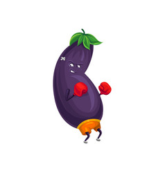 cute sportive eggplant boxing with gloves vector image vector image
