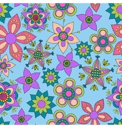 Fantasy flowers colorful seamless pattern vector