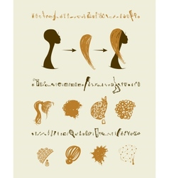Female head and set of hairstyles for your design vector image