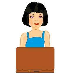girl brunette for computer vector image