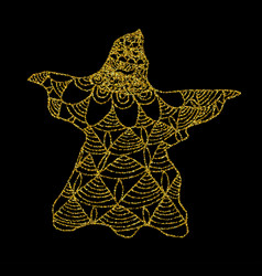 gold cast of ghost on a black background vector image vector image