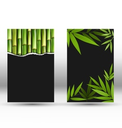 Green bamboo cards on gray vector