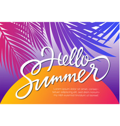Hello summer - leaflet template with brush vector