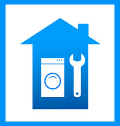 Icon with wrench and washing mashine vector