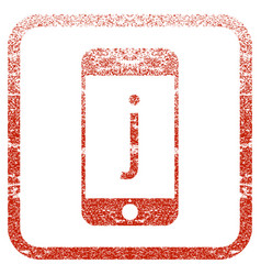 J phone framed textured icon vector