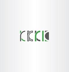 letter k set logo icon green gray vector image