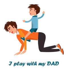 little boy riding on his father s back isolated vector image