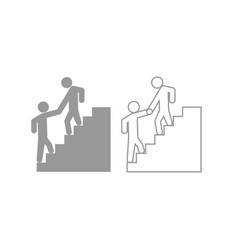 Man helping climb other man icon grey set vector
