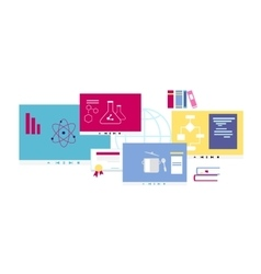 Online course icon flat design style vector