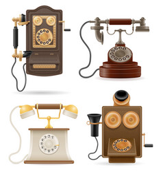 phone old retro set icons stock vector image vector image