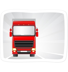 red truck moving on the road vector image vector image