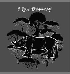 Rhinoceros and savanna trees print vector