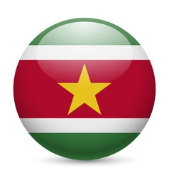 Round glossy icon of suriname vector image vector image