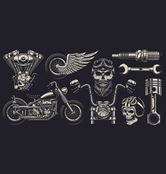 set of custom motorcycle emblems vector image vector image