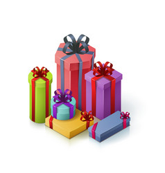 set of gift boxes with bows and ribbons isometric vector image vector image