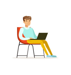 Smiling businessman sitting on a chair and working vector