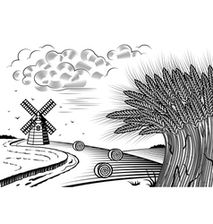 Wheat fields landscape black and white vector