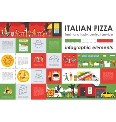Italian pizza infographic elements flat concept vector