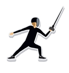 Person figure athlete fencing sport icon vector