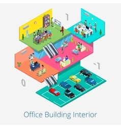 Isometric office center interior meeting room vector