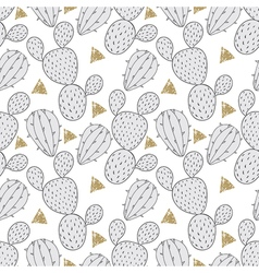 Cactus seamless pattern for fabric hand drawn vector
